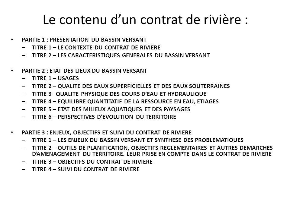 Le contenu d'un contrat de rivière : PARTIE 1 : PRESENTATION DU BASSIN VERSANT – TITRE 1 – LE CONTEXTE DU CONTRAT DE RIVIERE – TITRE 2 – LES CARACTERI