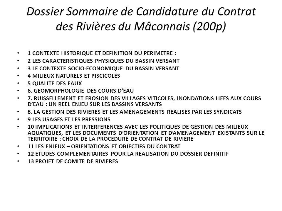 Dossier Sommaire de Candidature du Contrat des Rivières du Mâconnais (200p) 1 CONTEXTE HISTORIQUE ET DEFINITION DU PERIMETRE : 2 LES CARACTERISTIQUES