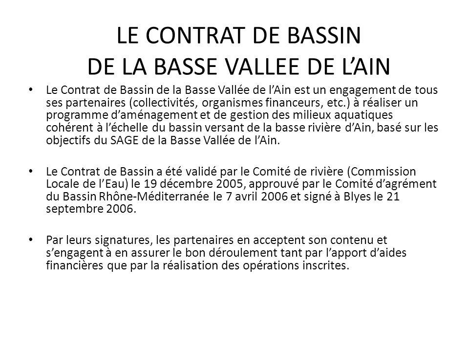 Le Contrat de Bassin de la Basse Vallée de l'Ain est un engagement de tous ses partenaires (collectivités, organismes financeurs, etc.) à réaliser un