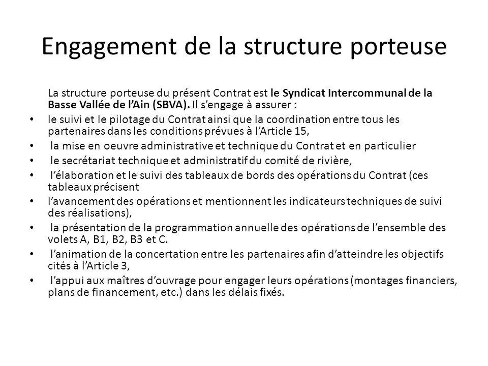 Engagement de la structure porteuse La structure porteuse du présent Contrat est le Syndicat Intercommunal de la Basse Vallée de l'Ain (SBVA). Il s'en