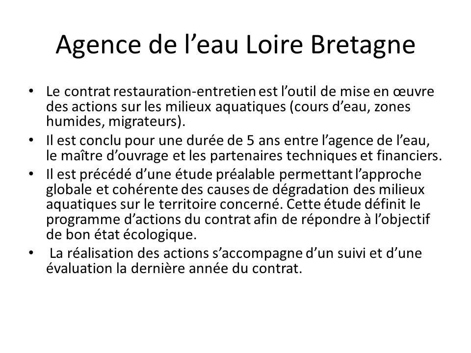 Agence de l'eau Loire Bretagne Le contrat restauration-entretien est l'outil de mise en œuvre des actions sur les milieux aquatiques (cours d'eau, zon