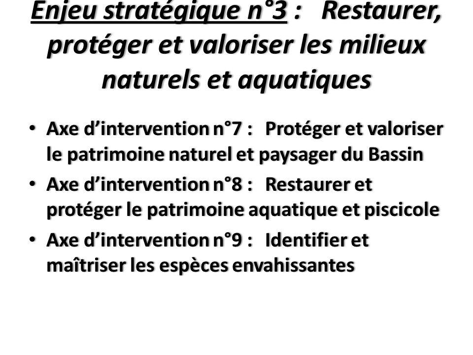 Enjeu stratégique n°4 : Améliorer la gestion quantitative de la ressource en eau et lutter contre les risques liés à l'eau Axe d'intervention n°10 :Optimiser la gestion quantitative collective de la ressource en eau Axe d'intervention n°10 :Optimiser la gestion quantitative collective de la ressource en eau Axe d'intervention n°11 : Prévenir et lutter contre les risques liés à l'eau Axe d'intervention n°11 : Prévenir et lutter contre les risques liés à l'eau