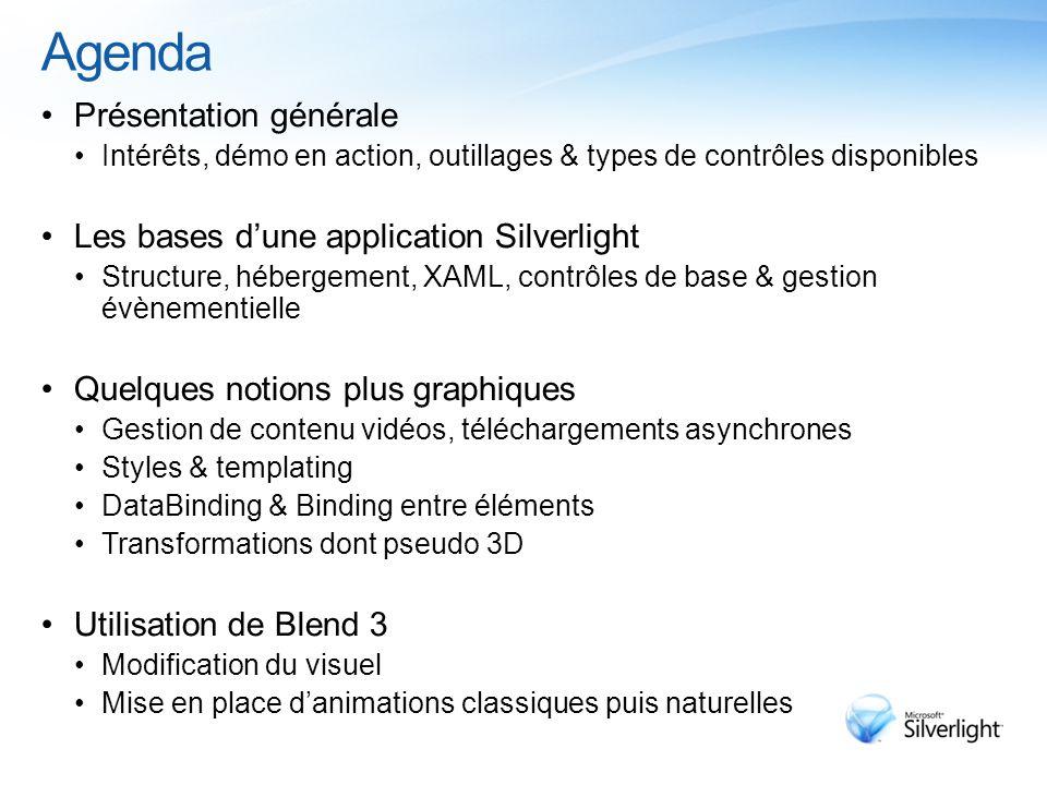 Agenda Notions plus avancées Appels de services WCF SandBoxing – OpenFileDialog / SaveFileDialog Pixel Shaders Out of Browser Accélération matérielle GPU Scénarios métiers orientés données Introduction à.NET RIA Services
