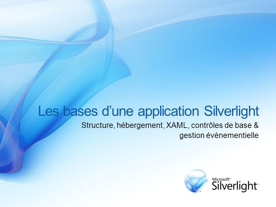 Les bases d'une application Silverlight Structure, hébergement, XAML, contrôles de base & gestion évènementielle