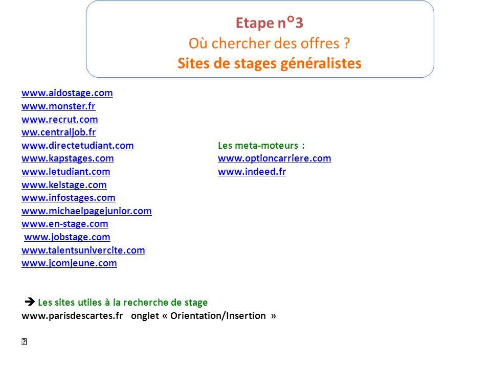Etape n°3 Où chercher des offres ? Sites de stages généralistes www.aidostage.com www.monster.fr www.recrut.com ww.centraljob.fr www.directetudiant.co