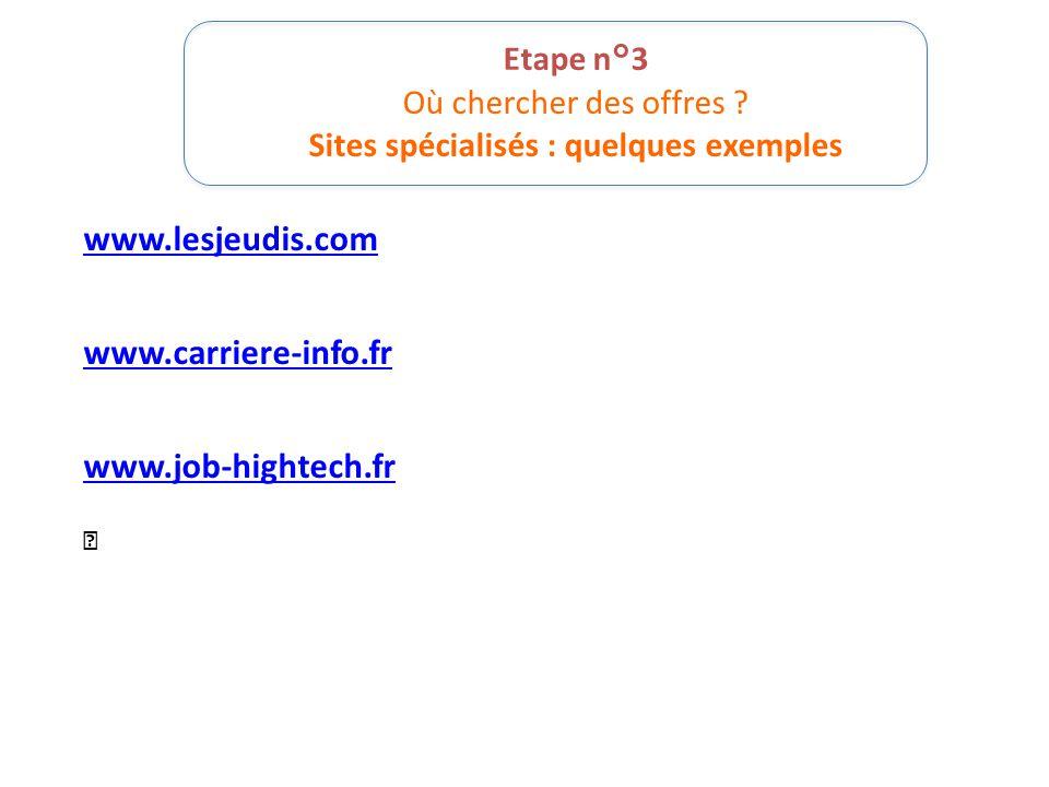 Etape n°3 Où chercher des offres ? Sites spécialisés : quelques exemples www.lesjeudis.com www.carriere-info.fr www.job-hightech.fr 