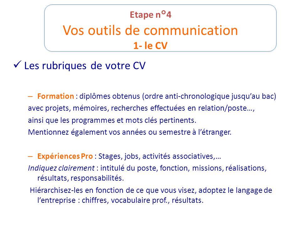 Etape n°4 Vos outils de communication 1- le CV Les rubriques de votre CV – Formation : diplômes obtenus (ordre anti-chronologique jusqu'au bac) avec p