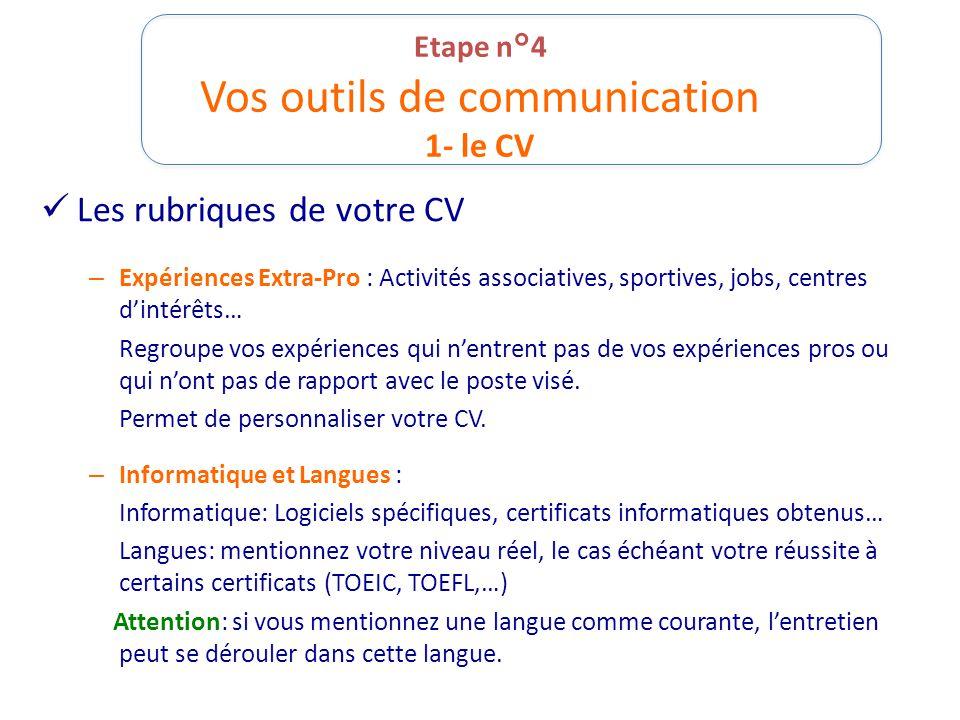 Etape n°4 Vos outils de communication 1- le CV Les rubriques de votre CV – Expériences Extra-Pro : Activités associatives, sportives, jobs, centres d'