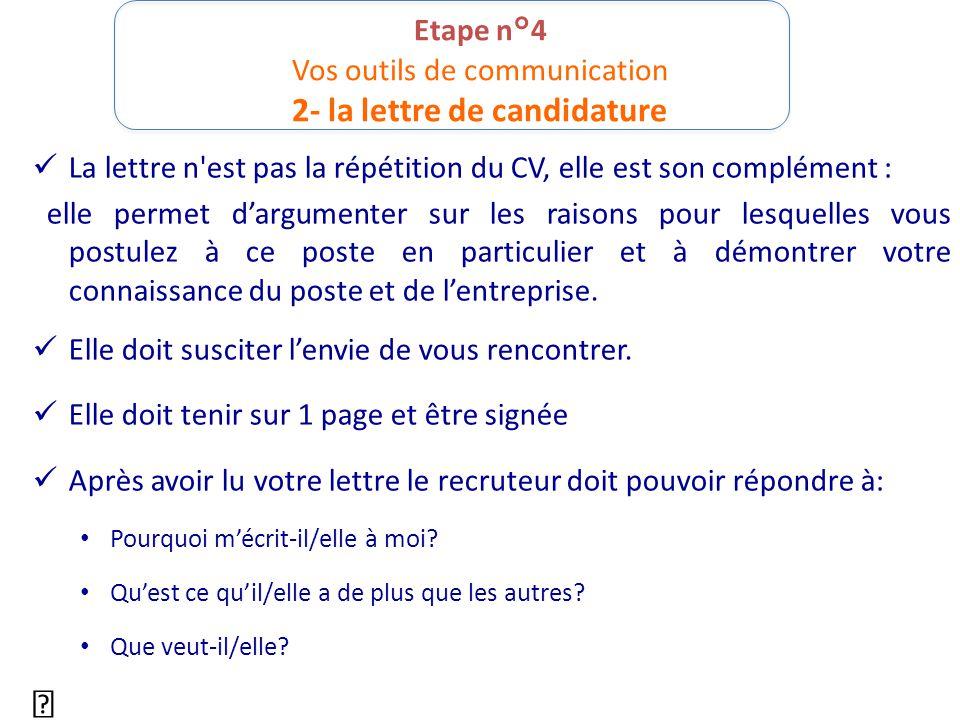 Etape n°4 Vos outils de communication 2- la lettre de candidature La lettre n'est pas la répétition du CV, elle est son complément : elle permet d'arg