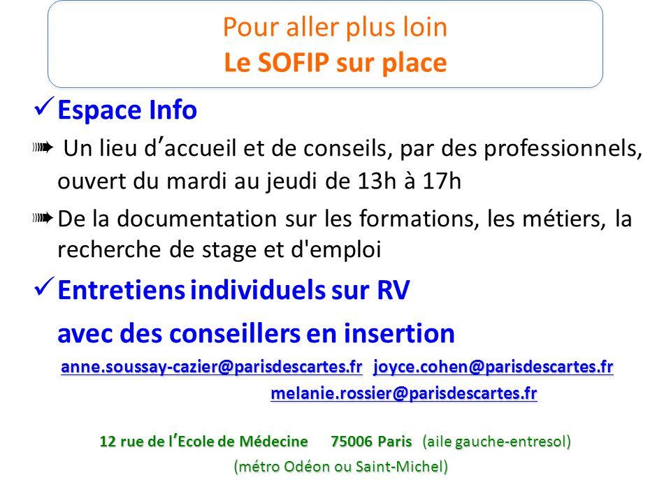 Pour aller plus loin Le SOFIP sur place Espace Info ➠ Un lieu d'accueil et de conseils, par des professionnels, ouvert du mardi au jeudi de 13h à 17h