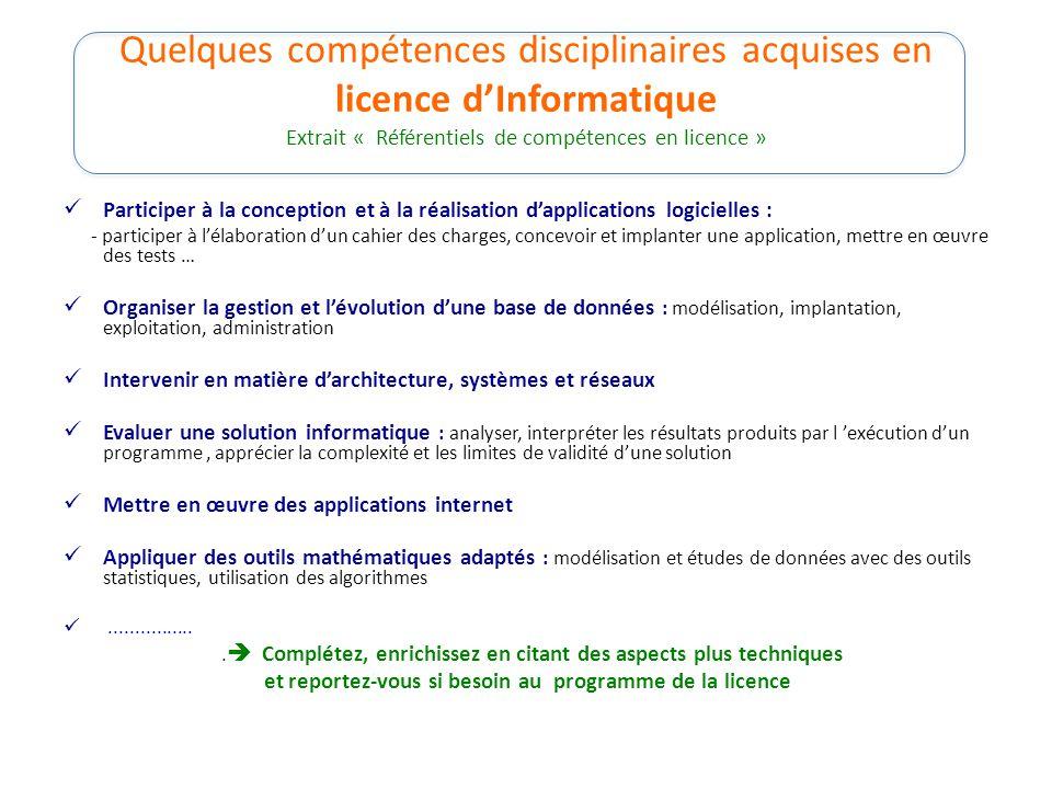 Quelques compétences disciplinaires acquises en licence d'Informatique Extrait « Référentiels de compétences en licence » Participer à la conception e