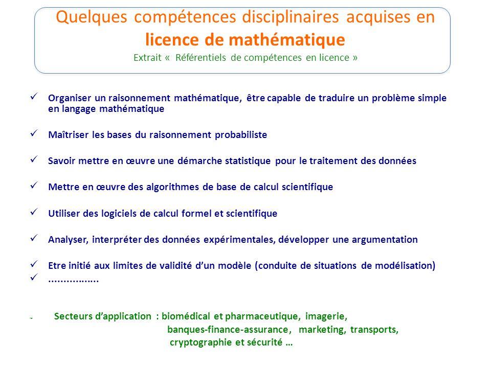 Quelques compétences disciplinaires acquises en licence de mathématique Extrait « Référentiels de compétences en licence » Organiser un raisonnement m