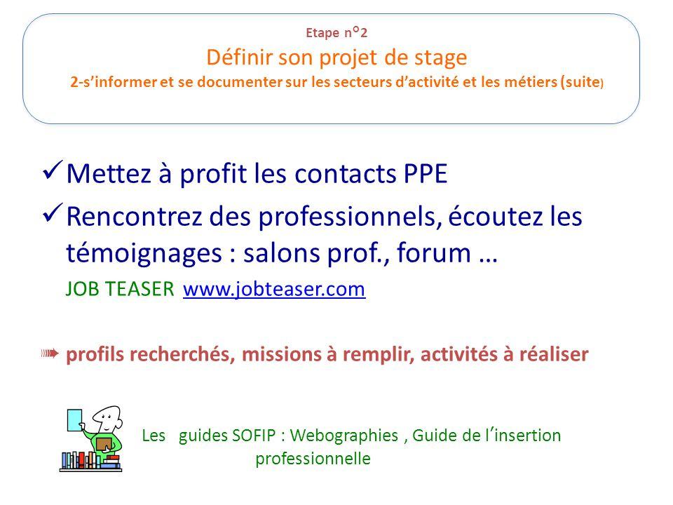 Etape n°2 Définir son projet de stage 2-s'informer et se documenter sur les secteurs d'activité et les métiers (suite ) Mettez à profit les contacts P