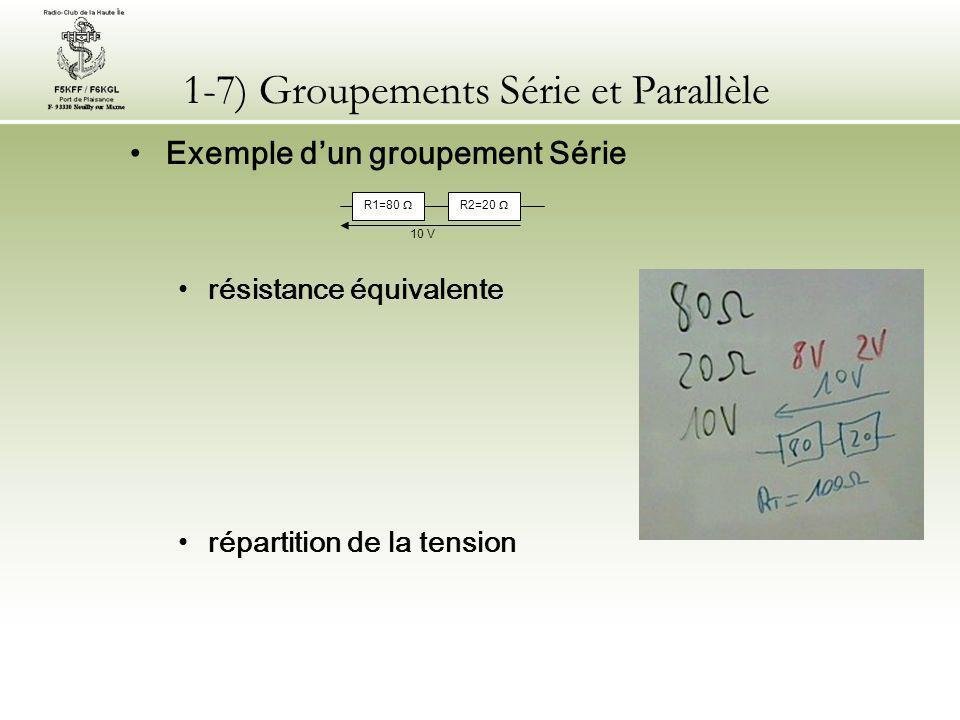 1-7) Groupements Série et Parallèle Exemple d'un groupement Série répartition de l'intensité répartition de la puissance R1=80  R2=20  10 V