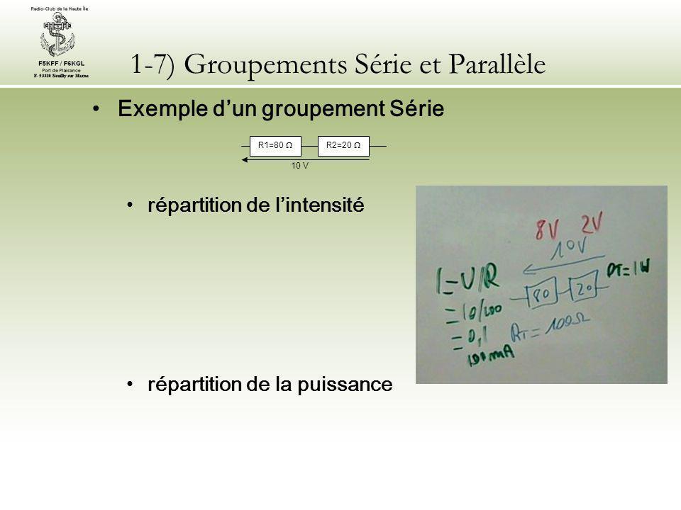 1-7) Groupements Série et Parallèle Exemple d'un groupement Parallèle résistance équivalente répartition de la tension 80  20  10 V R2 R1