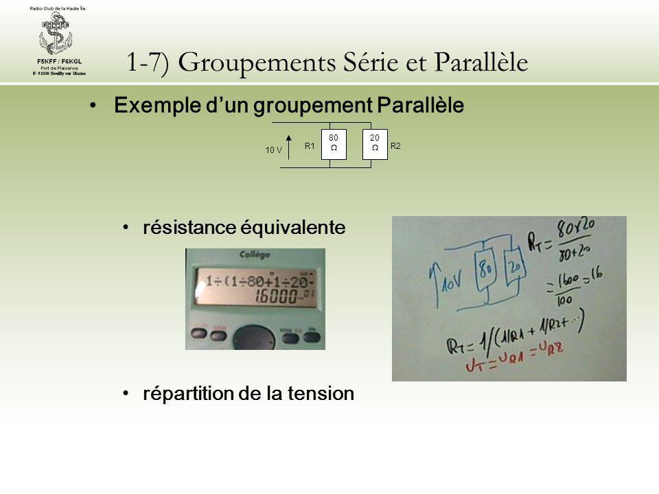 1-7) Groupements Série et Parallèle Exemple d'un groupement Parallèle répartition de l'intensité répartition de la puissance 80  20  10 V R2 R1