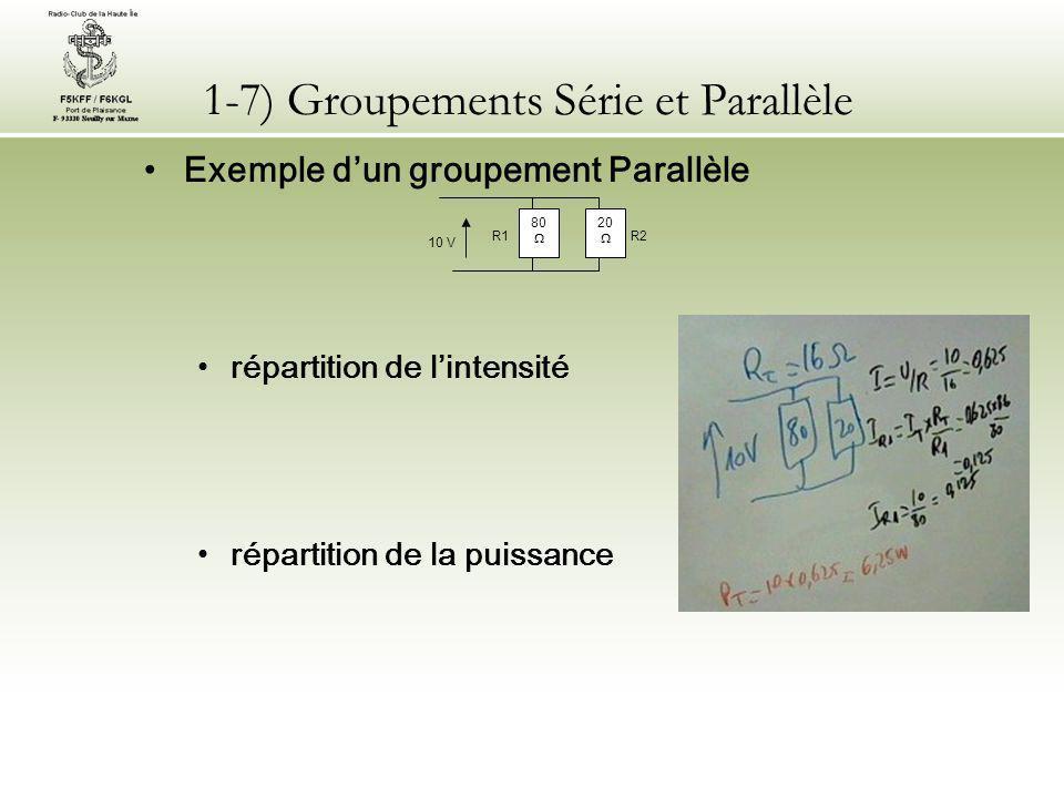 1-7) Groupements Série et Parallèle Dans le cas d'un réseau complexe composé de résistances en Série et en Parallèle - 1) La résistance équivalente de l ensemble le plus élémentaire sera d'abord calculée.