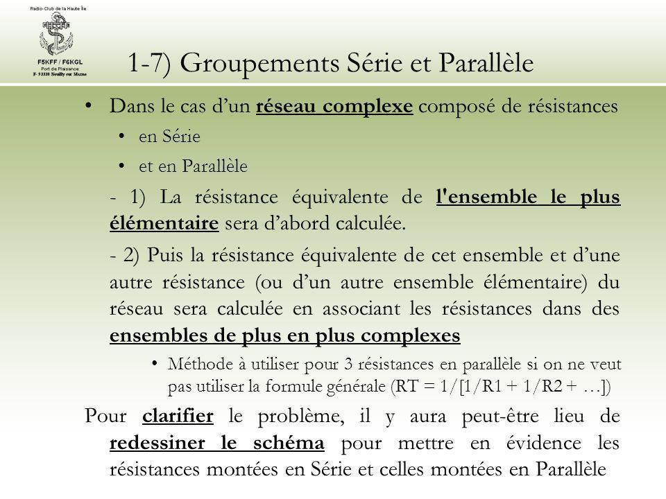 1-7) Groupements Série et Parallèle Dans le cas d'un réseau complexe composé de résistances en Série et en Parallèle - 1) La résistance équivalente de