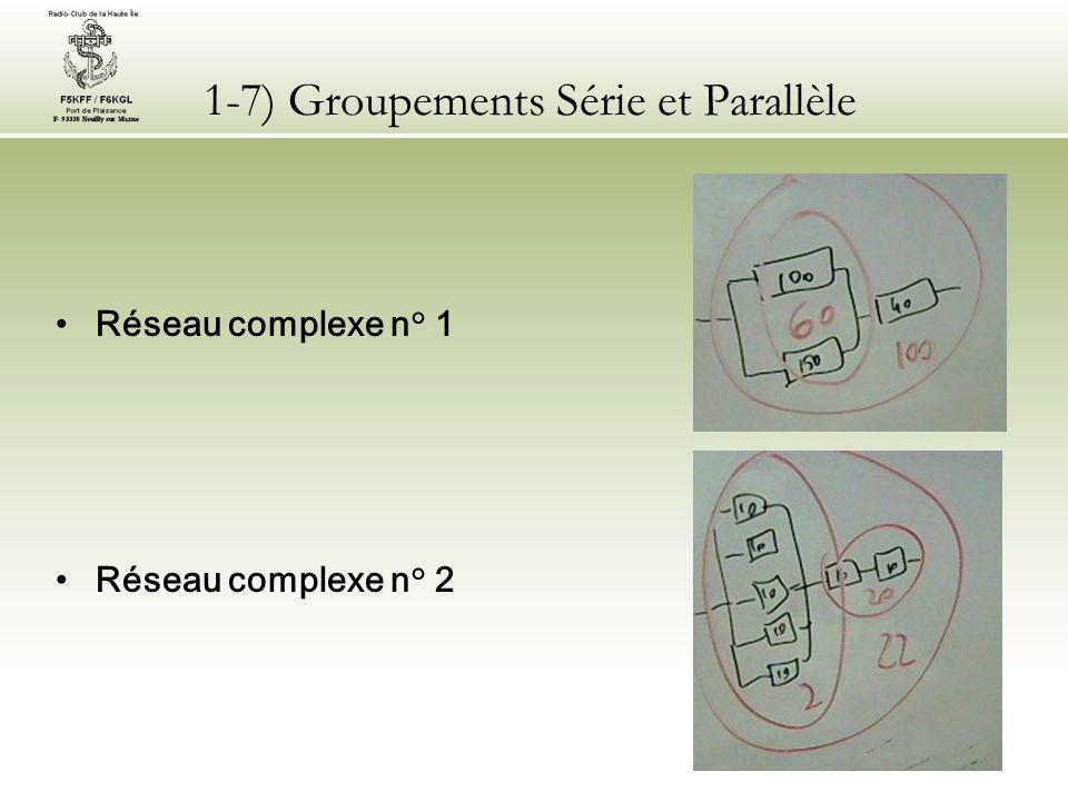 1-7) Groupements Série et Parallèle Réseau complexe n° 1 Réseau complexe n° 2
