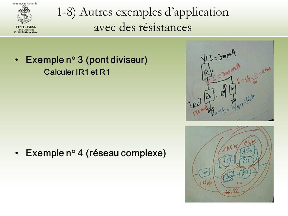 1-8) Autres exemples d'application avec des résistances Exemple n° 3 (pont diviseur) Calculer IR1 et R1 Exemple n° 4 (réseau complexe)