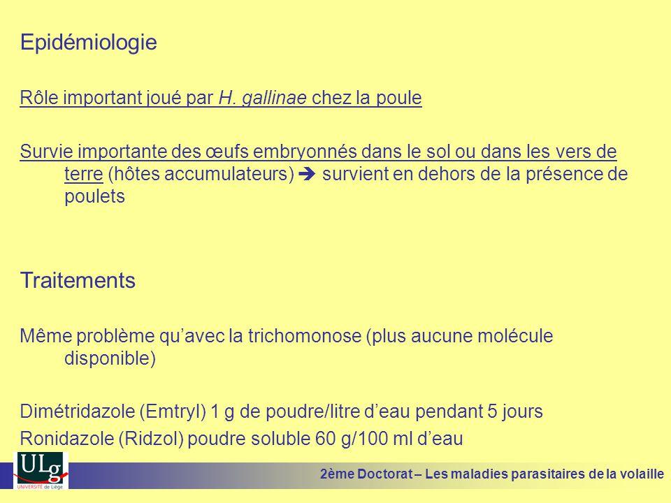 Epidémiologie Rôle important joué par H. gallinae chez la poule Survie importante des œufs embryonnés dans le sol ou dans les vers de terre (hôtes acc