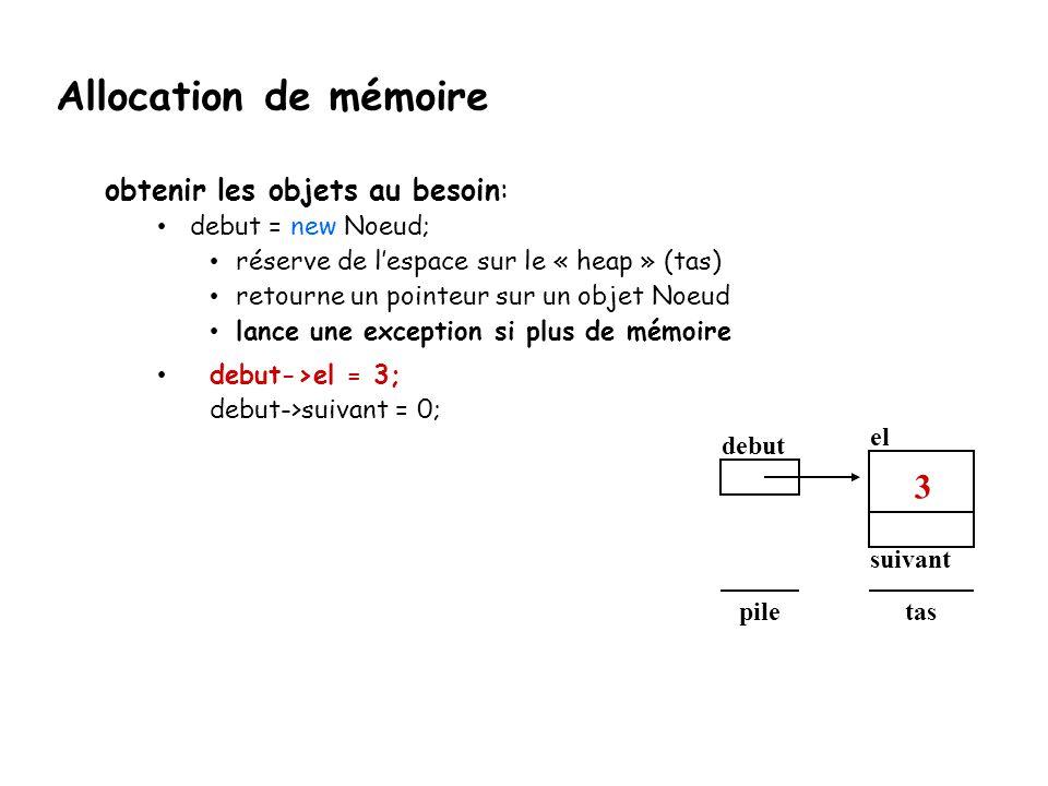 obtenir les objets au besoin: debut = new Noeud; réserve de l'espace sur le « heap » (tas) retourne un pointeur sur un objet Noeud lance une exception