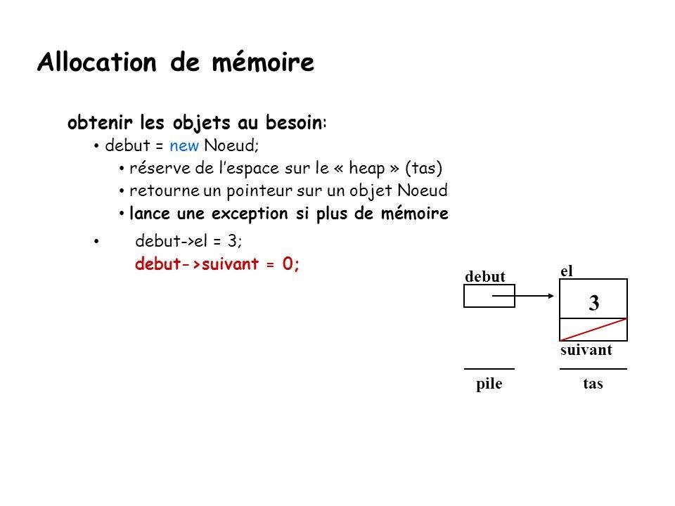debut el suivant taspile 3 obtenir les objets au besoin: debut = new Noeud; réserve de l'espace sur le « heap » (tas) retourne un pointeur sur un obje