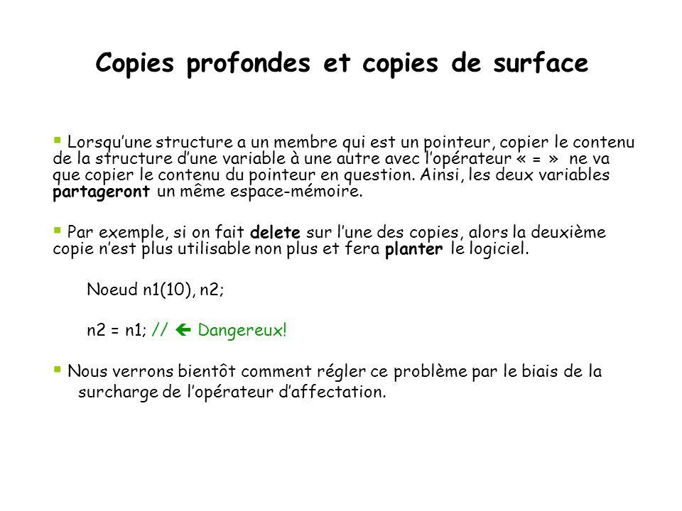 Copies profondes et copies de surface  Lorsqu'une structure a un membre qui est un pointeur, copier le contenu de la structure d'une variable à une a