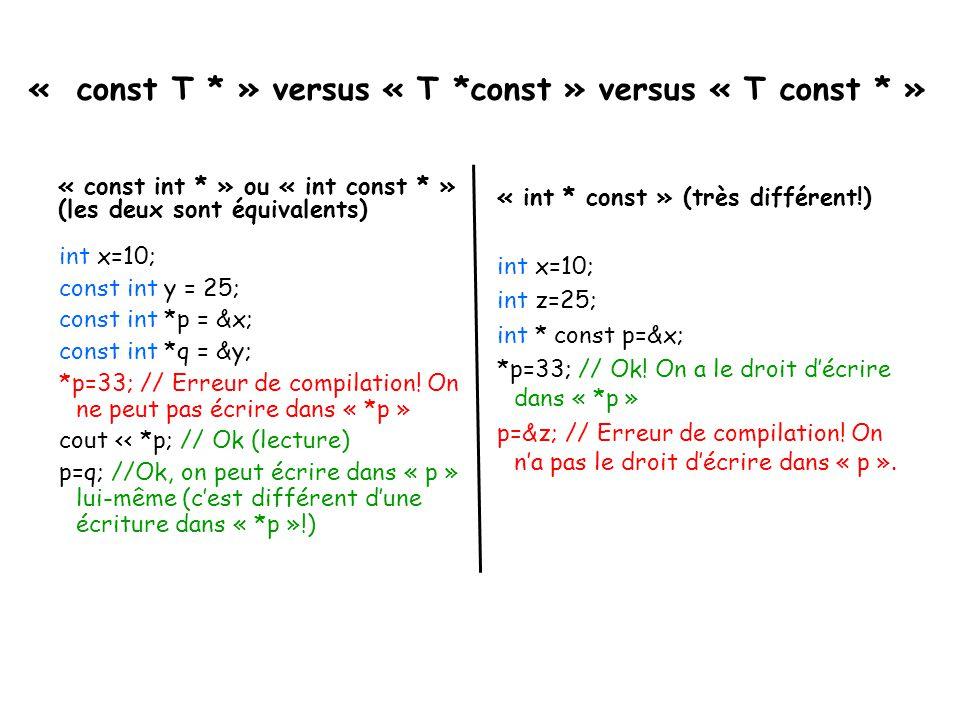 « const T * » versus « T *const » versus « T const * » « const int * » ou « int const * » (les deux sont équivalents) int x=10; const int y = 25; cons