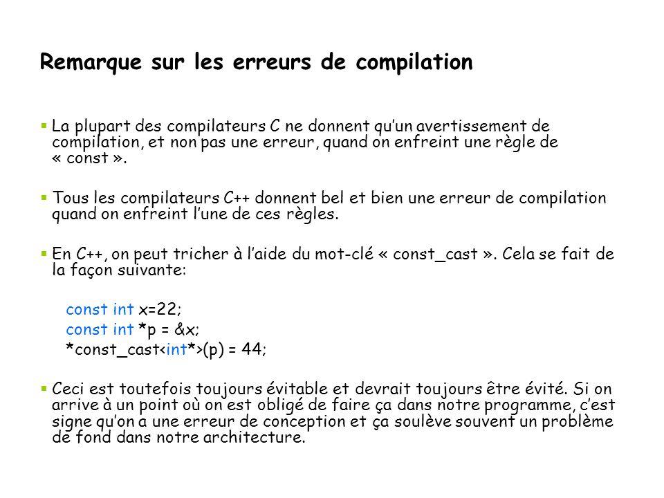 Remarque sur les erreurs de compilation  La plupart des compilateurs C ne donnent qu'un avertissement de compilation, et non pas une erreur, quand on