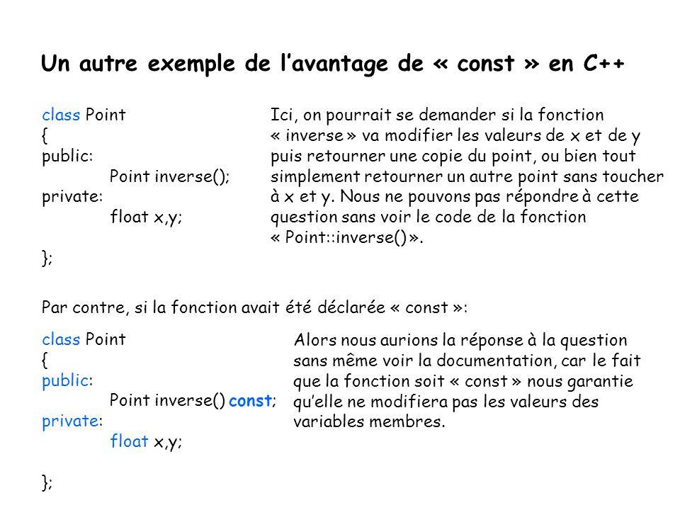 Un autre exemple de l'avantage de « const » en C++ class Point { public: Point inverse(); private: float x,y; }; Par contre, si la fonction avait été