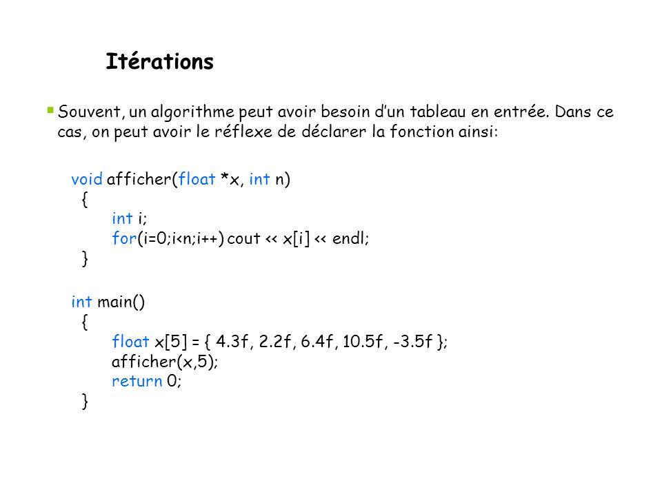 Itérations  Souvent, un algorithme peut avoir besoin d'un tableau en entrée. Dans ce cas, on peut avoir le réflexe de déclarer la fonction ainsi: voi