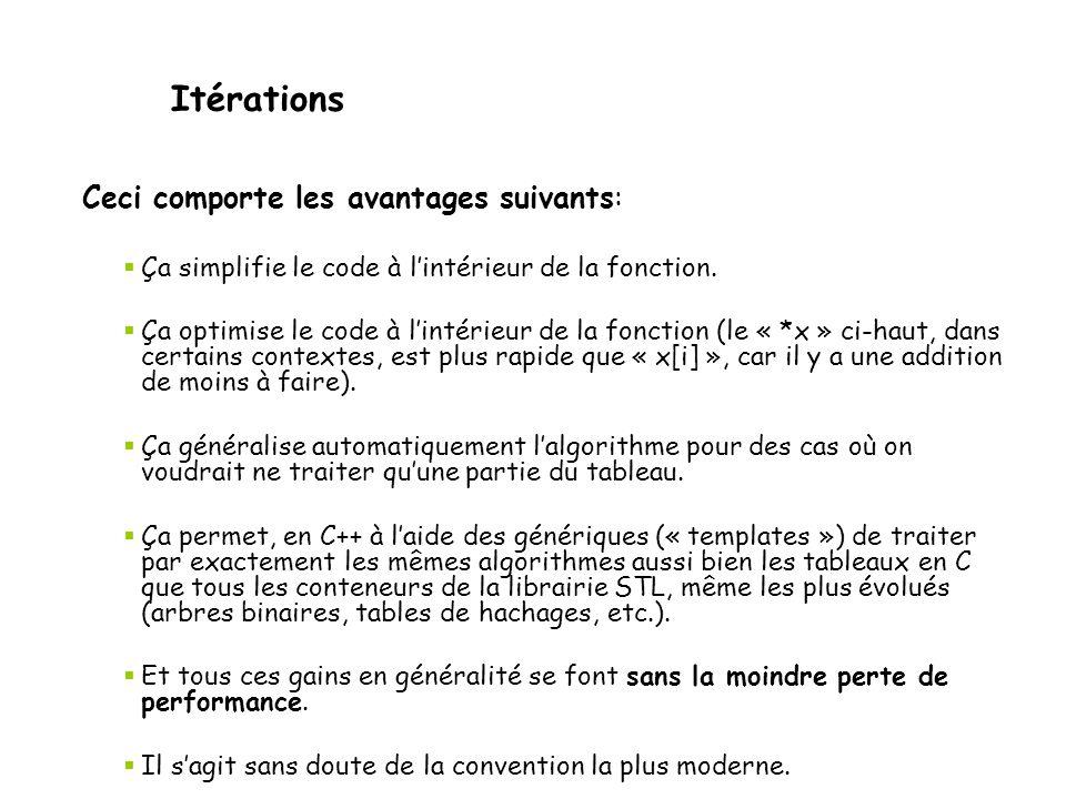 Itérations Ceci comporte les avantages suivants:  Ça simplifie le code à l'intérieur de la fonction.  Ça optimise le code à l'intérieur de la foncti