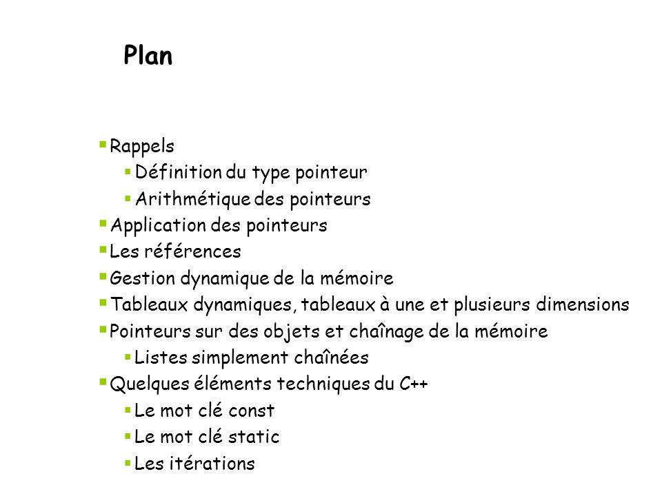 Se créer un tableau dynamique 2D Exemple d'une fonction d'allocation 2D : int ** tableau2d(int dim1,int dim2) { int **p; if (( p = new int*[dim1])== 0) return 0; for ( int i = 0; i < dim1; i++) if ((p[i]= new int[dim2])== 0) return 0; return p; } Gestion dynamique de la mémoire