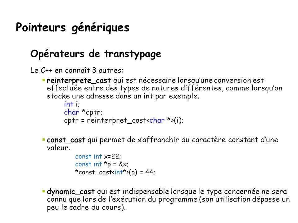 Pointeurs génériques Opérateurs de transtypage Le C++ en connaît 3 autres:  reinterprete_cast qui est nécessaire lorsqu'une conversion est effectuée