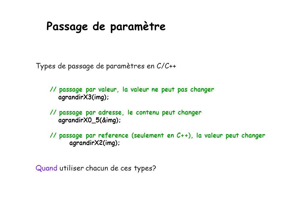 Passage de paramètre Types de passage de paramètres en C/C++ // passage par valeur, la valeur ne peut pas changer agrandirX3(img); // passage par adre