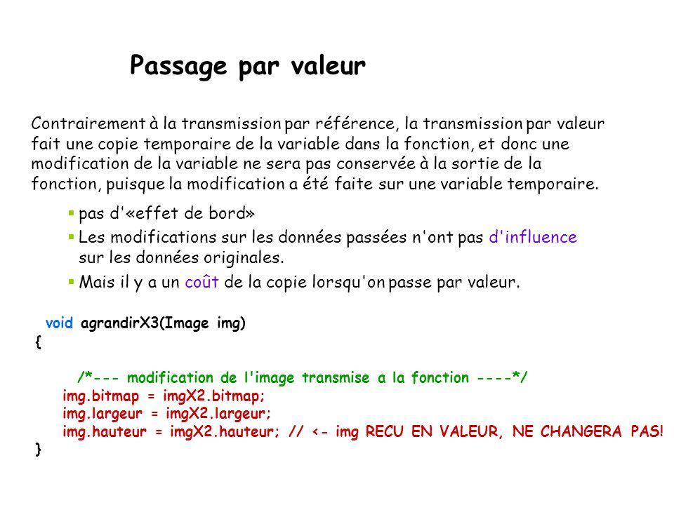 Passage par valeur void agrandirX3(Image img) { /*--- modification de l'image transmise a la fonction ----*/ img.bitmap = imgX2.bitmap; img.largeur =