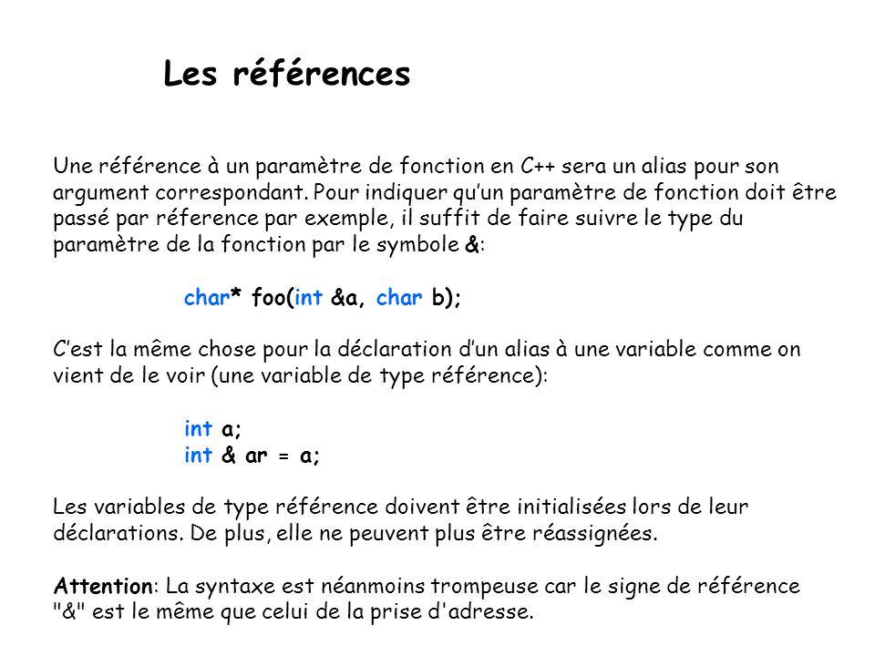 Les références Une référence à un paramètre de fonction en C++ sera un alias pour son argument correspondant. Pour indiquer qu'un paramètre de fonctio