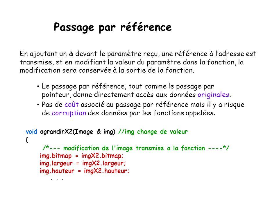 Passage par référence void agrandirX2(Image & img) //img change de valeur { /*--- modification de l'image transmise a la fonction ----*/ img.bitmap =