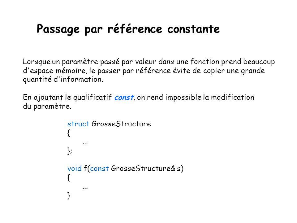 Passage par référence constante Lorsque un paramètre passé par valeur dans une fonction prend beaucoup d'espace mémoire, le passer par référence évite