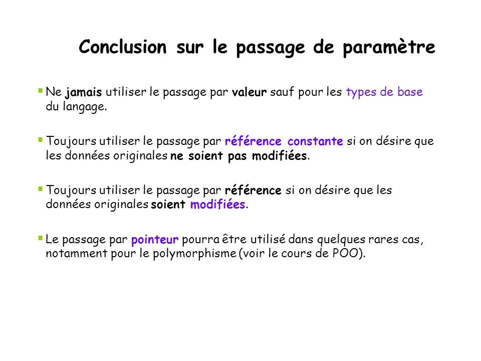 Conclusion sur le passage de paramètre  Ne jamais utiliser le passage par valeur sauf pour les types de base du langage.  Toujours utiliser le passa