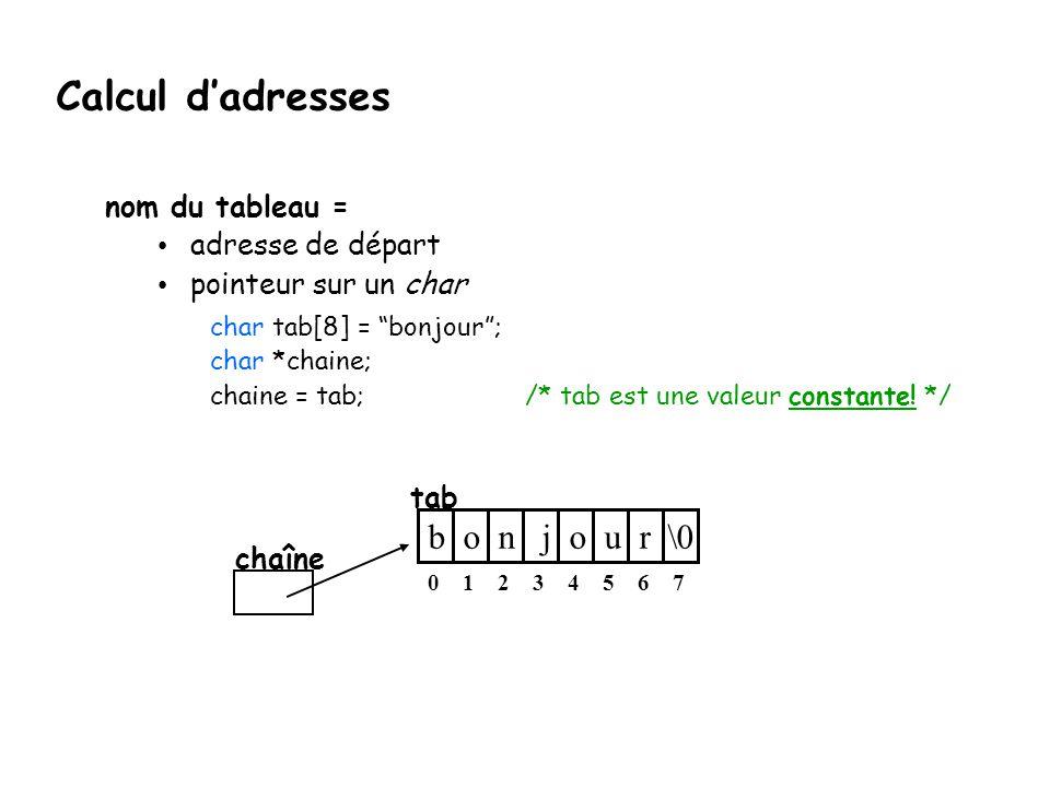 """Calcul d'adresses nom du tableau = adresse de départ pointeur sur un char char tab[8] = """"bonjour""""; char *chaine; chaine = tab; /* tab est une valeur c"""