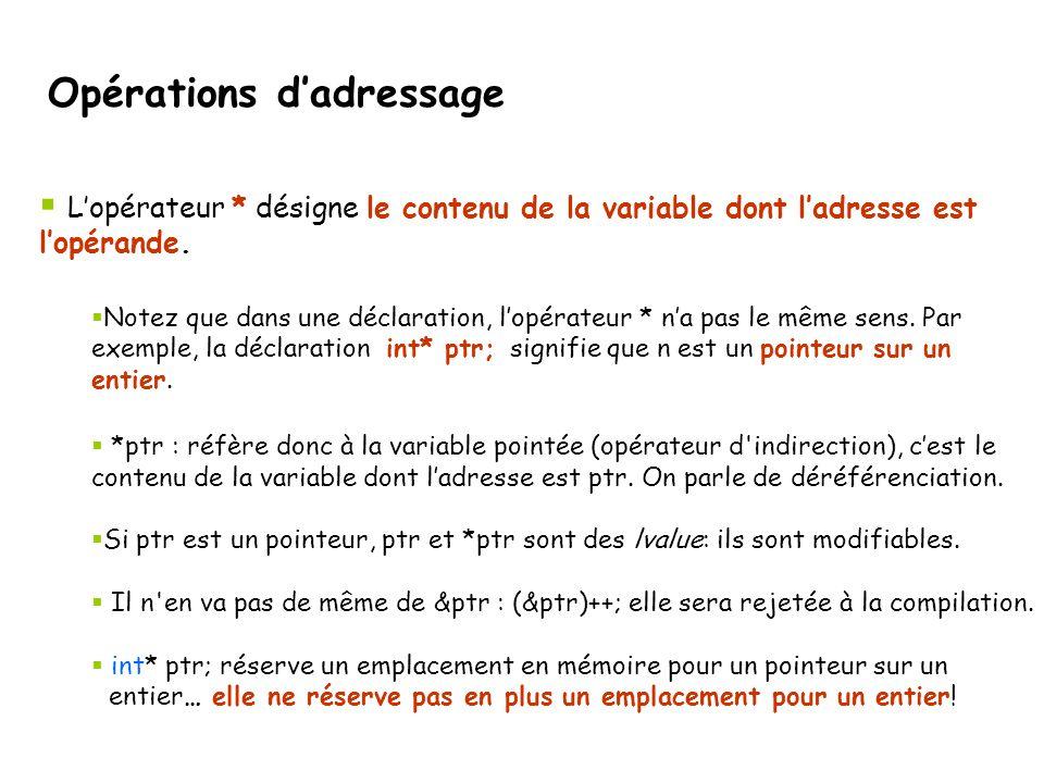 Désallocation d'un tableau dynamique 2D Exemple d'une fonction de désallocation : void detruitTableau2D( int ** & p, int dim1, int dim2) { for ( int i = 0; i < dim1; i++) delete [] p[i]; delete []p; p = 0; } Remarque: p doit être passé par référence, puisque sa valeur change dans la fonction (p = 0) et on veut que ce changement soit effectif dans la fonction qui a appelé detruitTableau2D Gestion dynamique de la mémoire