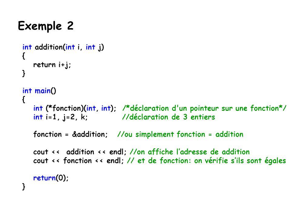 int addition(int i, int j) { return i+j; } int main() { int (*fonction)(int, int); /*déclaration d'un pointeur sur une fonction*/ int i=1, j=2, k; //d