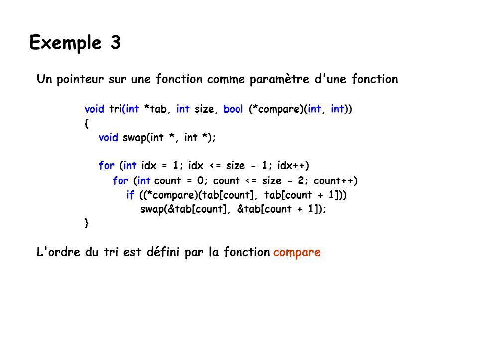 Un pointeur sur une fonction comme paramètre d'une fonction void tri(int *tab, int size, bool (*compare)(int, int)) { void swap(int *, int *); for (in