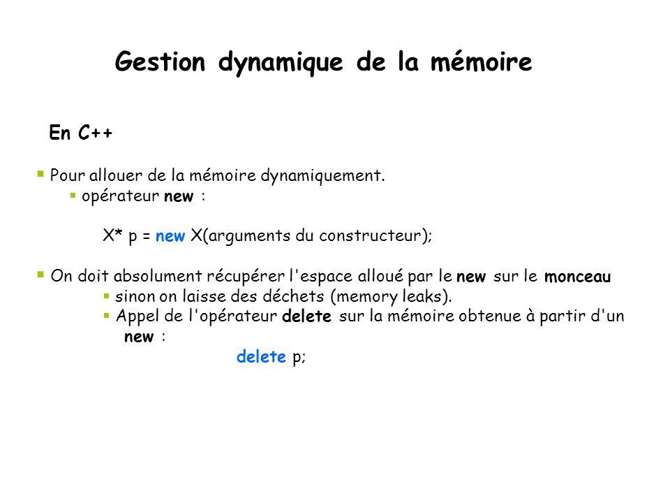  Pour allouer de la mémoire dynamiquement.  opérateur new : X* p = new X(arguments du constructeur);  On doit absolument récupérer l'espace alloué