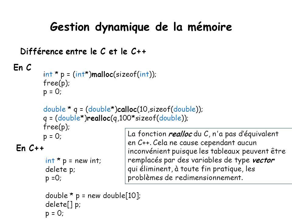 int * p = (int*)malloc(sizeof(int)); free(p); p = 0; double * q = (double*)calloc(10,sizeof(double)); q = (double*)realloc(q,100*sizeof(double)); free