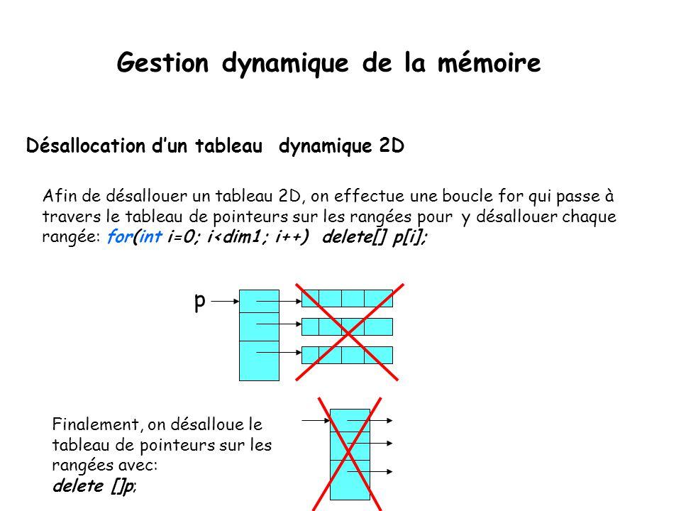 Désallocation d'un tableau dynamique 2D Afin de désallouer un tableau 2D, on effectue une boucle for qui passe à travers le tableau de pointeurs sur l