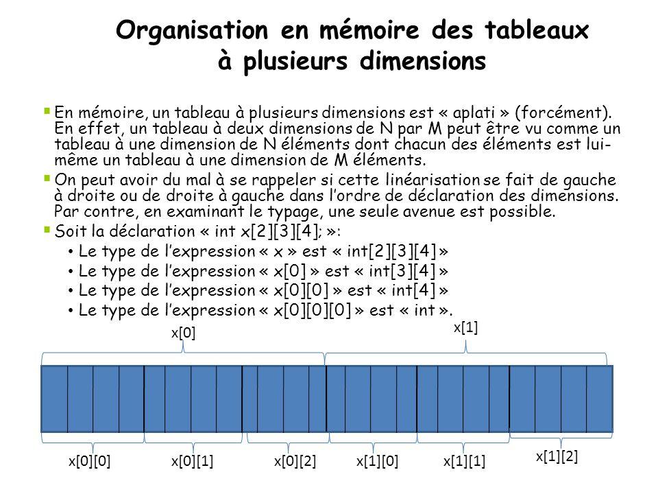 Organisation en mémoire des tableaux à plusieurs dimensions  En mémoire, un tableau à plusieurs dimensions est « aplati » (forcément). En effet, un t