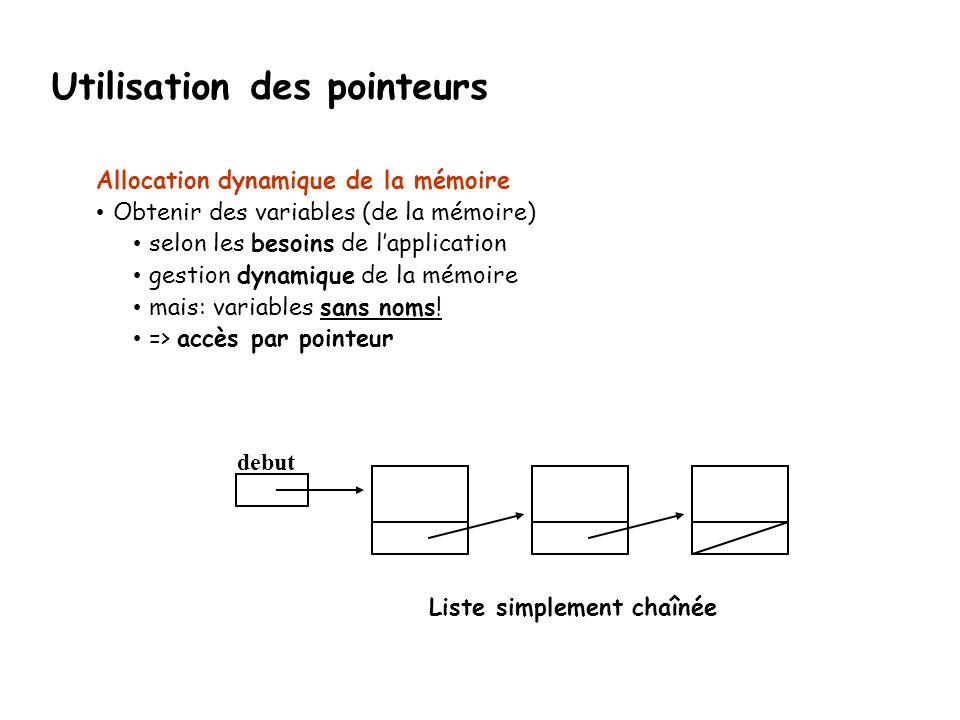 Allocation dynamique de la mémoire Obtenir des variables (de la mémoire) selon les besoins de l'application gestion dynamique de la mémoire mais: vari